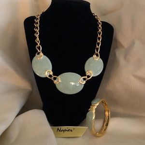 Napier gold and sea green necklace